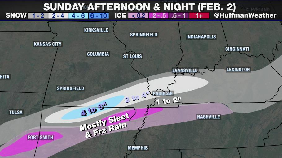 Snow Likely in Southeast MO on Super Bowl Sunday