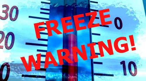 Freeze Warning Issued by National Weather Service
