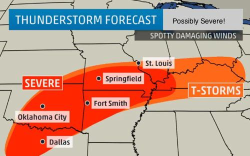 Scattered Severe Storms Predicted for Our Area
