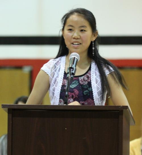 Irene Huang Speaks to Jr  Beta Club at Induction Ceremony