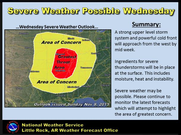 Severe Weather Expected Wednesday