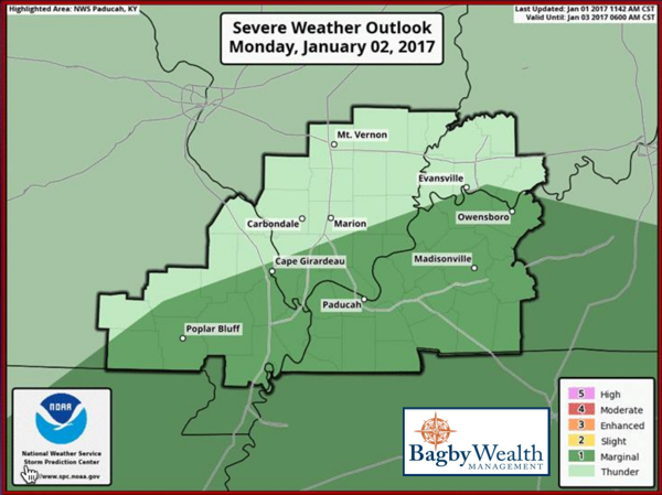 Slight Risk of Severe Thunderstorms on Monday