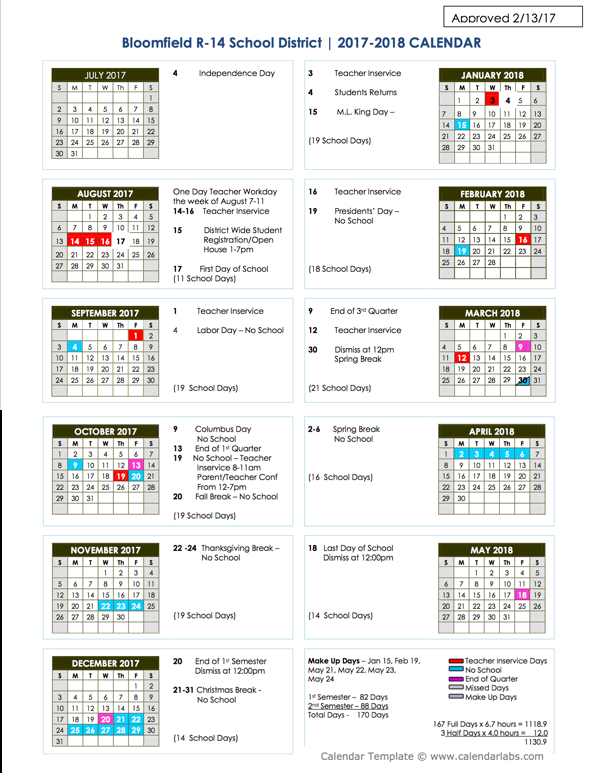 2017-2018 Bloomfield School Calendar Approved