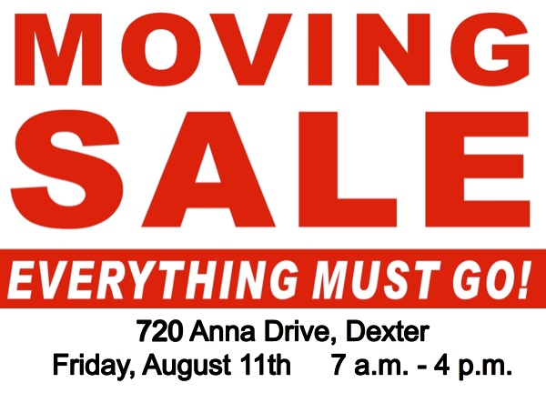 Large Moving Sale At 720 Anna Drive In Dexter On Friday Only