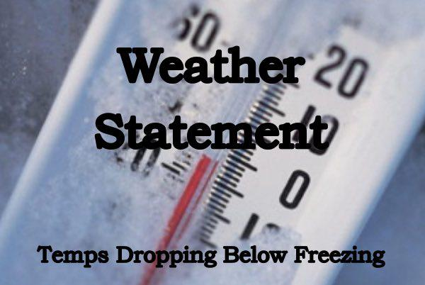 Special Weather Statement - Temps to Fall Below Freezing