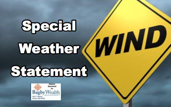 Special Weather Statement Until 7 p.m. - Strong Gusty Winds
