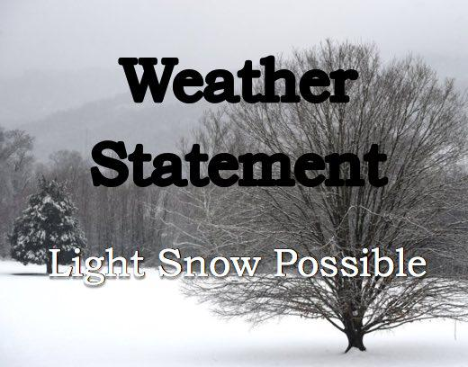 Special Weather Statement - Snow Potential on Friday