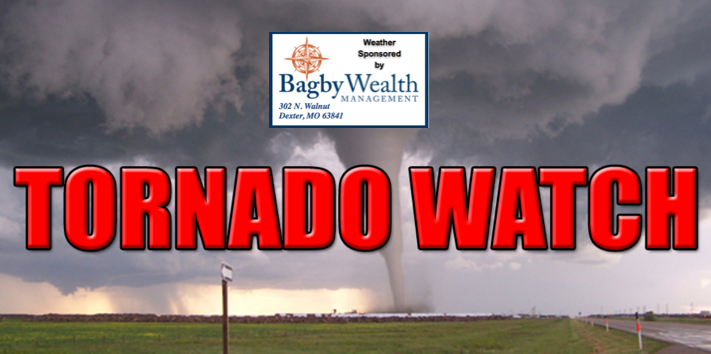 Tornado Watch Issued for Stoddard County Until 1 a.m.