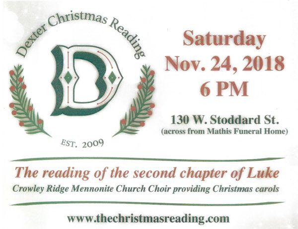 10th Annual Christmas Reading Date Set
