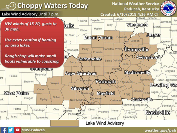 Lake Wind Advisory Issued Until 7 p.m.