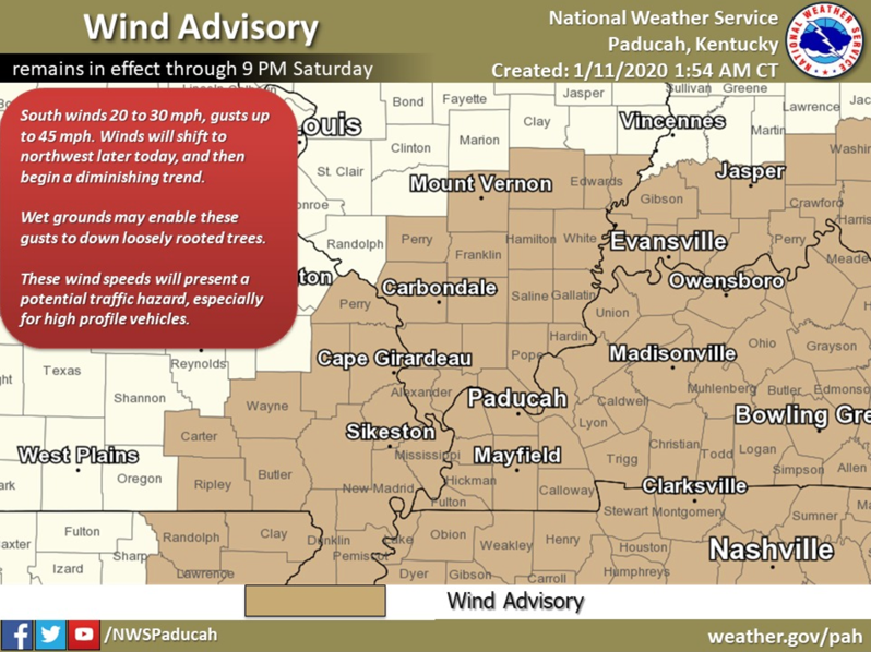 Wind Advisory Until 9 p.m. Saturday for Stoddard County
